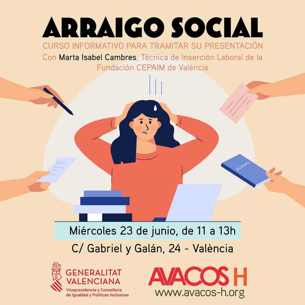 Imagen Curso Arraigo Social. 23 de junio, de 11 a 13h. Avacos-H. Calle Gabriel y Galán, 24.